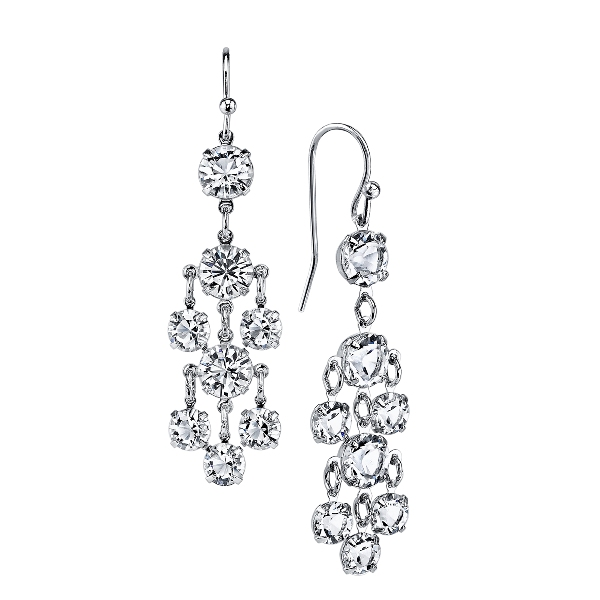 Signature Silver-Tone Genuine Swarovski Crystal Petite Chandelier Earrings