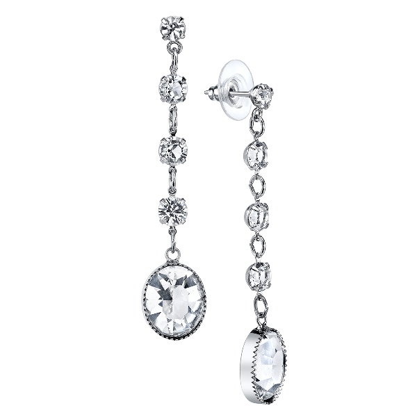 Signature Silver-Tone Genuine Swarovski Crystal Oval Faceted Linear Earrings