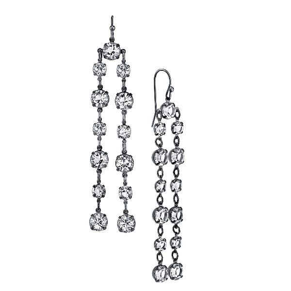 Signature Jet-Tone Genuine Swarovski Crystal Double Linear Earrings