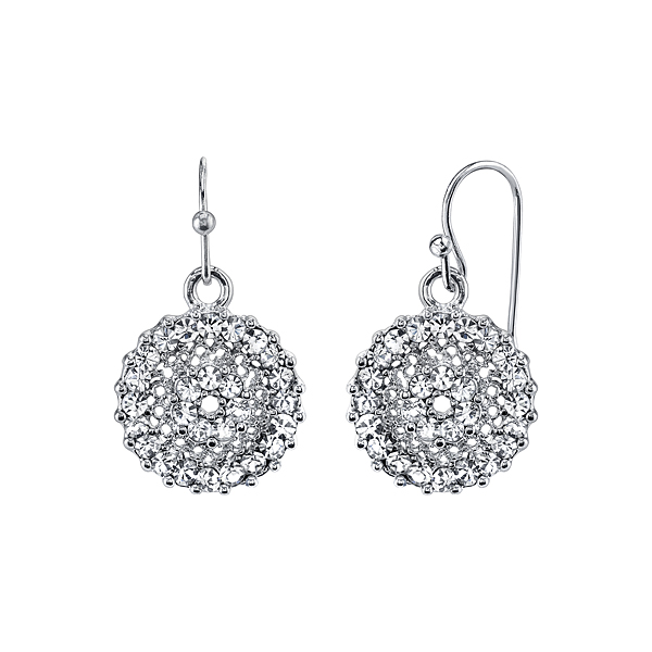 Silver-Tone Crystal Pavé Small Round Drop Earrings