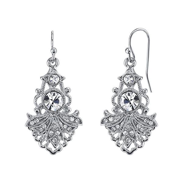 Silver-Tone Crystal Drop Edwardian-Style Earrings
