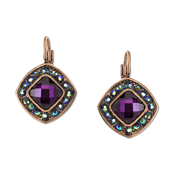 2028 Radiant Violet Copper-Tone Purple Lever-Back Drop Earrings