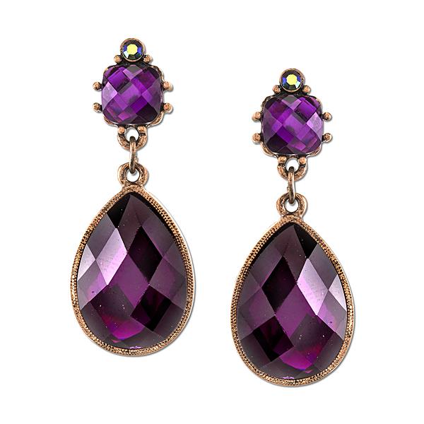 2028 Radiant Violet Copper-Tone Purple Pear-Shaped Drop Earrings