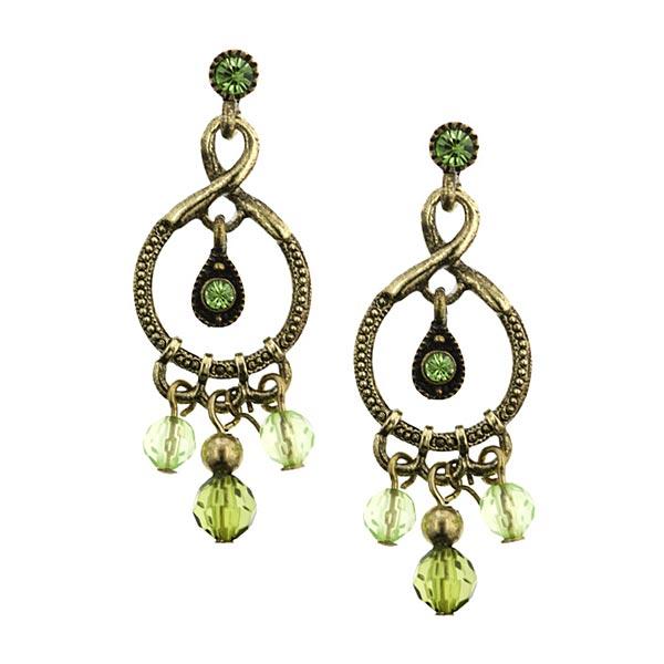 Brass-Tone Green Chandelier Earrings