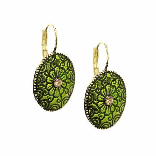 Brass-Tone Green Enamel Oval Drop Earrings