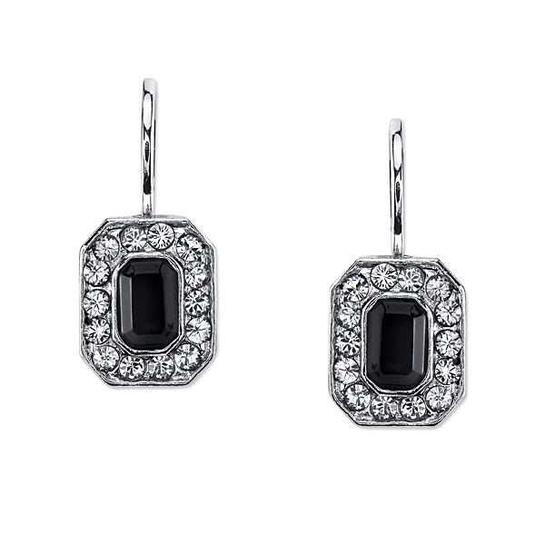 2028 Metro Jet Silver-Tone Black and Grey Crystal Octagon Drop Earrings