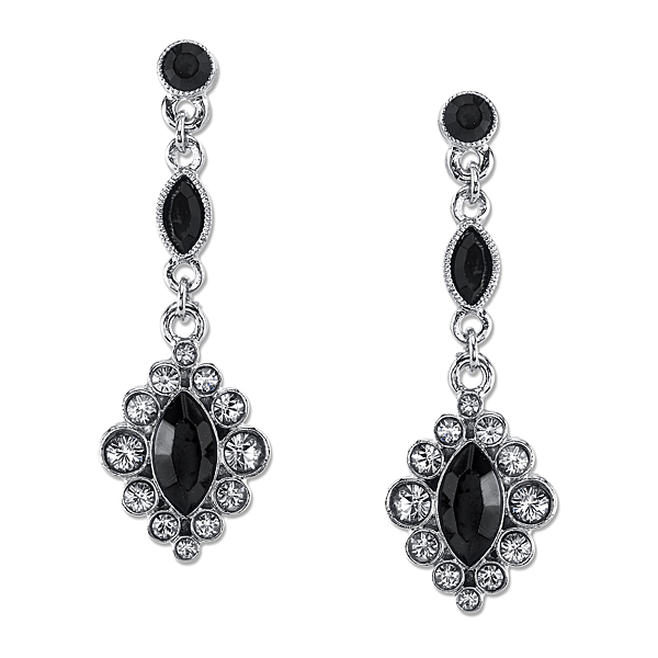 2028 Metro Jet Silver-Tone Black and Grey Crystal Drop Earrings