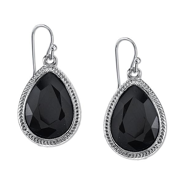 2028 Metro Jet Silver-Tone Black Pear-Shaped Drop Earrings