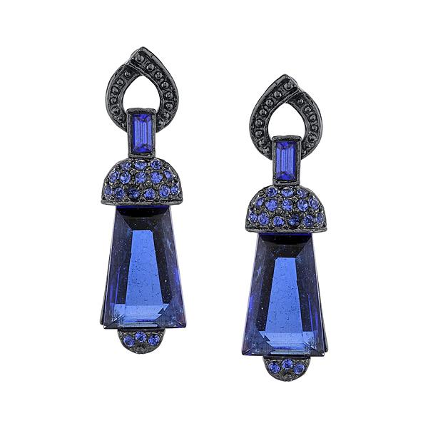2028 Juliana Black Metal Blue Art Deco Style Drop Earrings
