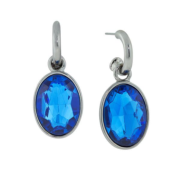 2028 Juliana Black Metal Blue Oval Drop Earrings