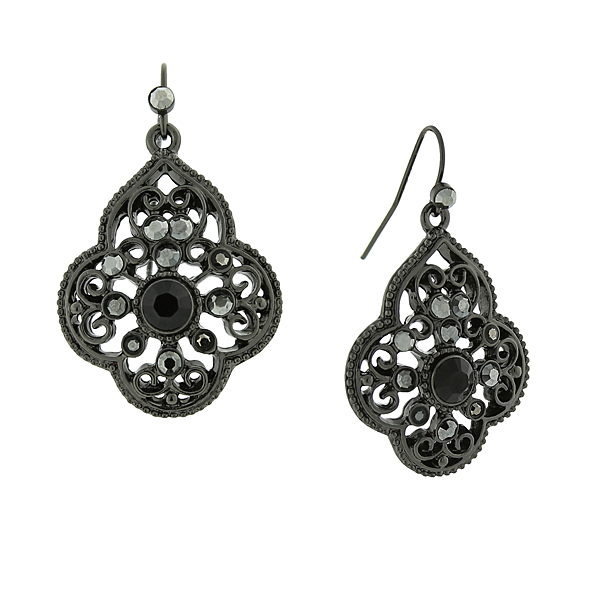 2028 Filigree Sparkle Black-Tone Grey Crystal Filigree Drop Earrings