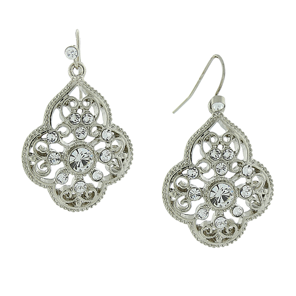 2028 Filigree Sparkle Silver-Tone Crystal Filigree Drop Earrings
