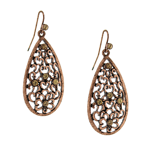 2028 Filigree Sparkle Copper-Tone Crystal Filigree Pear-Shaped Drop Earrings
