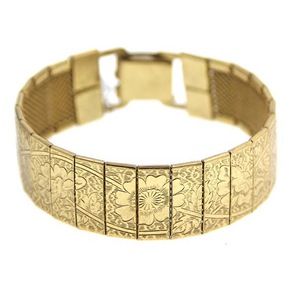 Gold-Tone Engraved Clasp Bracelet