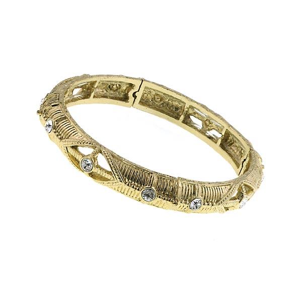 Gold-Tone Crystal Stretch Bangle Bracelet