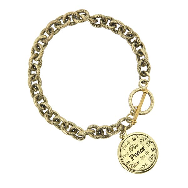 Brass Tone Peace Medallion Toggle Bracelet