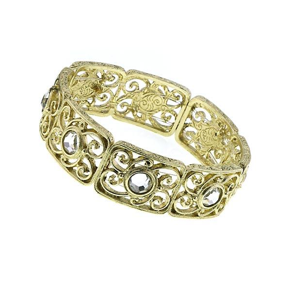 2028 Golden Glitz Gold-Tone Crystal Filigree Stretch Bracelet