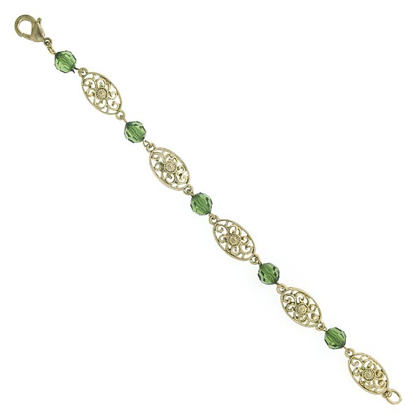 Aberdeen Green Swirl Medallion Links Bracelet