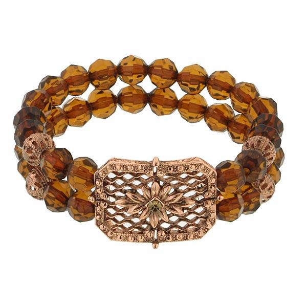 Honeycomb Amber Brown Beaded Bracelet
