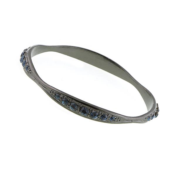 Jet-Tone Blue Bangle Bracelet
