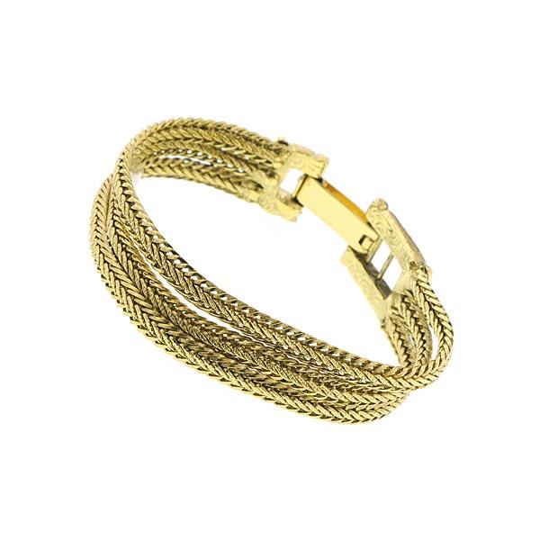 Dolores Golden Weave Three Strand Bracelet