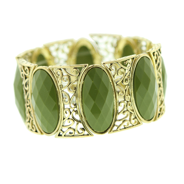 Art Deco Olive and Brass Stretch Bracelet