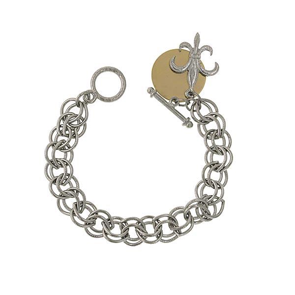 Fleur de Lis Custom Engraved Charm Bracelet