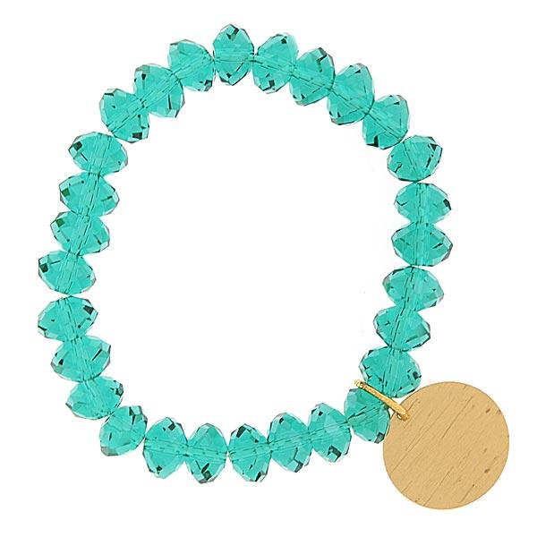 Teal Green Shimmer Beaded Engravable Charm Bracelet