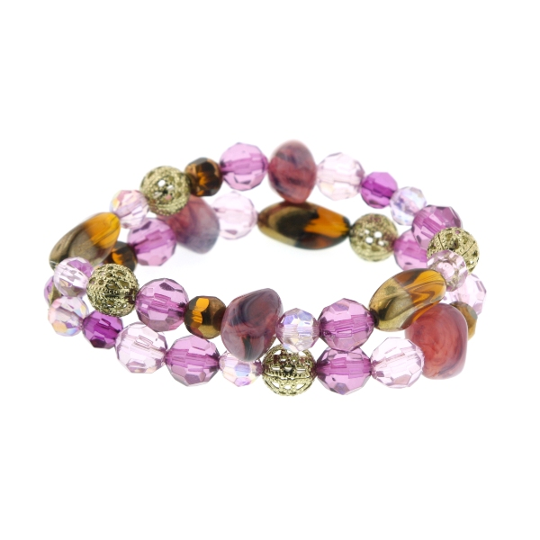 Bourges Purple Medley Beaded Double Strand Bracelet
