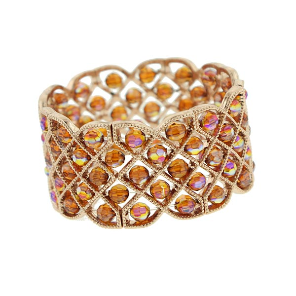Copper-Tone Northern Lights Lattice Stretch Bracelet