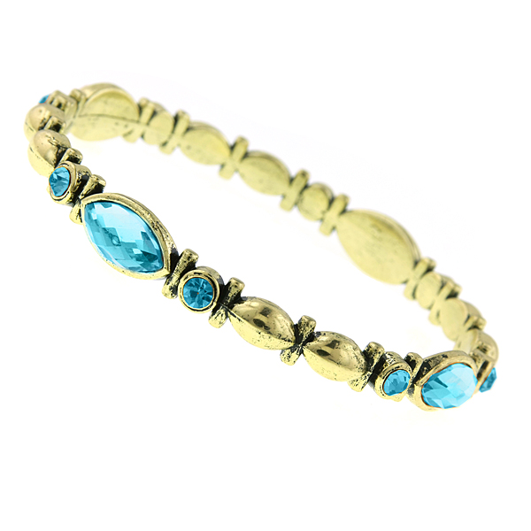Gold-Tone Aqua Blue Bangle Bracelet