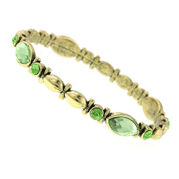 Gold-Tone Green Bangle Bracelet