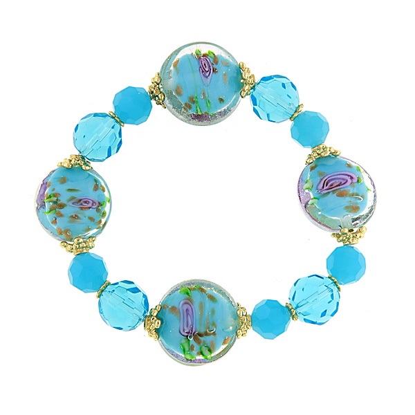 Confetti Gold-Tone Aqua Blue Beaded Bracelet