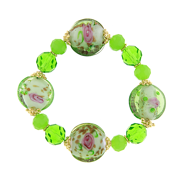 Confetti Gold-Tone Green Beaded Bracelet