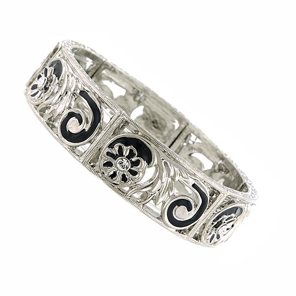 Silver-Tone Filigree Black Enamel Bracelet