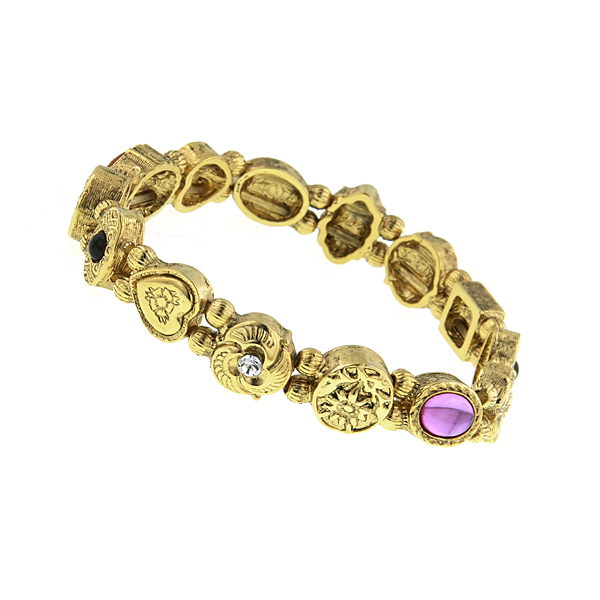 Signature Gold-Tone Victorian-Inspired Charm Stretch Bracelet