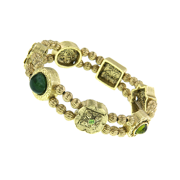Signature Gold-Tone Green Charm Stretch Bracelet