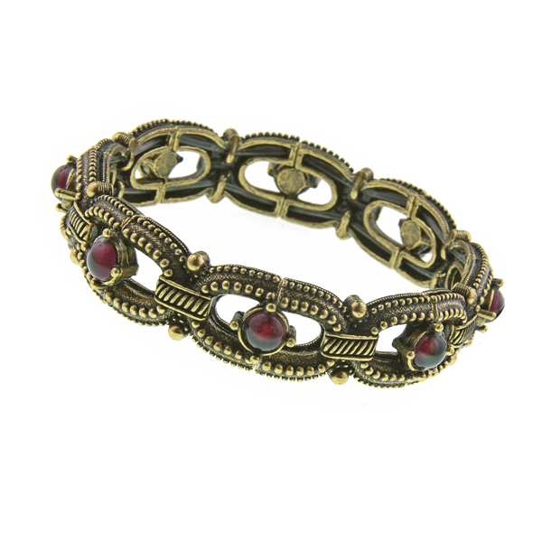 2028 Cabazon Brass-Tone Purple Stretch Bracelet