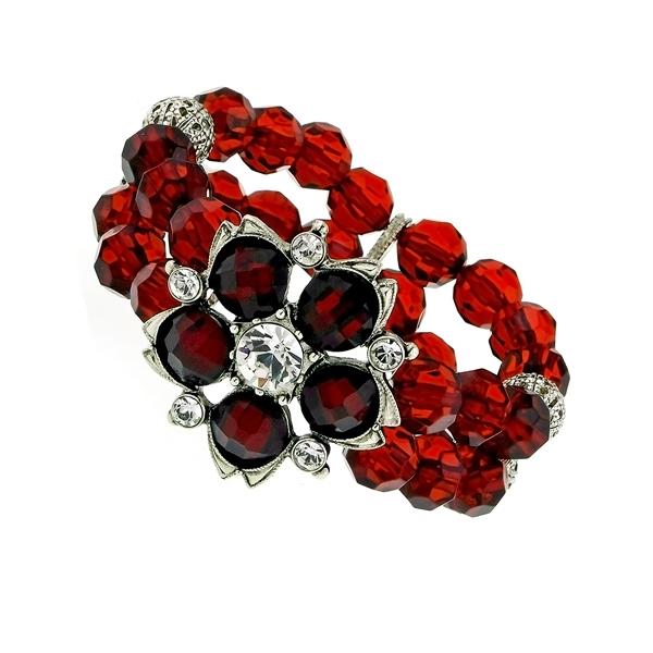 Red Siam Lucite Blossom Bead Stretch Bracelet