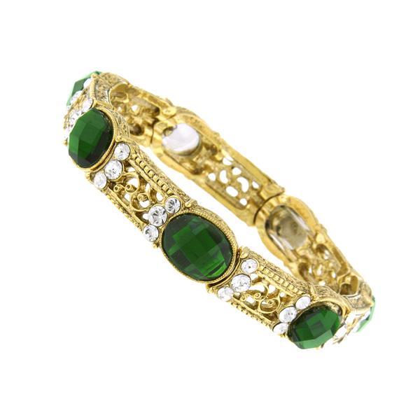 2028 Enjoli Emerald Green Crystal Stretch Bracelet