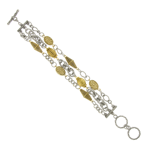 2028 Chelsea Two-Tone Three-Row Chain Toggle Bracelet