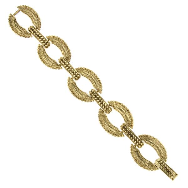 2028 Gold-Tone Oval Link Clasp Bracelet