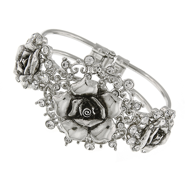 Signature Silver-Tone Crystal Flower Hinged Bracelet