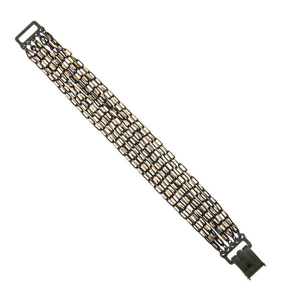 Signature Jet and Gold-Tone Multi-Chain Clasp Bracelet