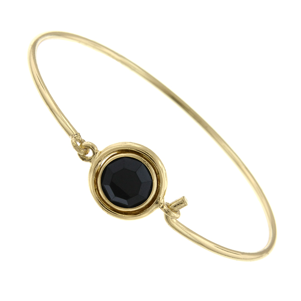 Gold-Tone Jet Black Swarovski Crystal Bangle