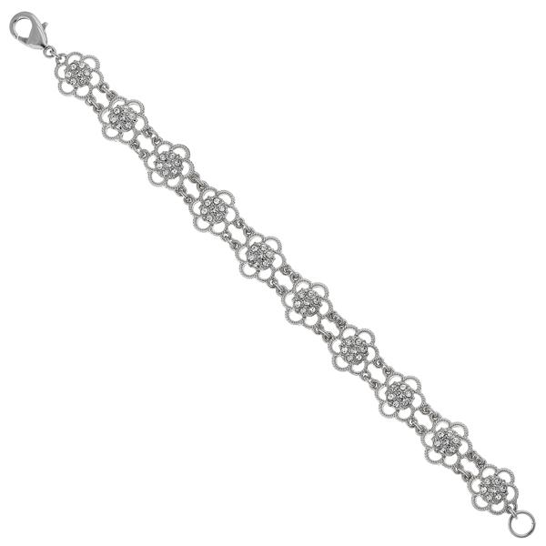 2028 Silver-Tone Crystal Flower Link Bracelet