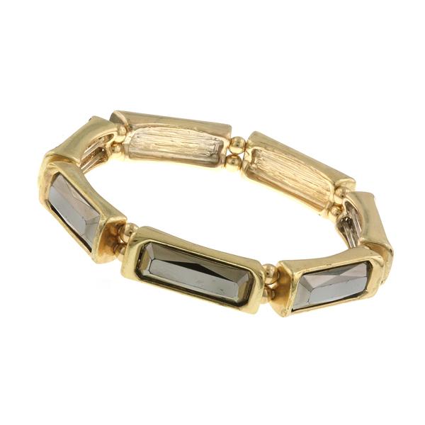 Gold-Tone Grey Stone Stretch Bracelet