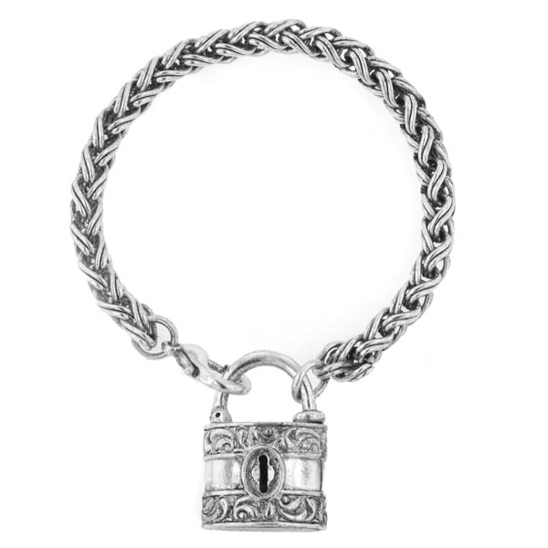 Antiquities Couture Silver-Tone Lock Bracelet