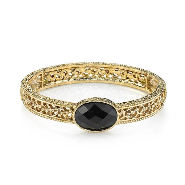 Gold-Tone Black Filigree Stretch Bangle Bracelet