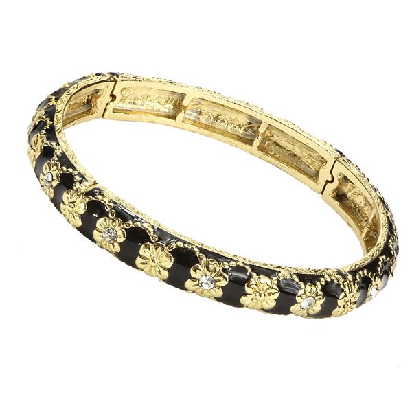 2028 Gold-Tone Black Enamel Crystal Stretch Bangle Bracelet